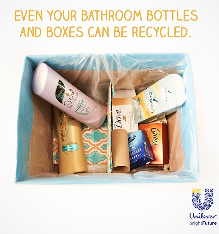 Wonder which of your bathroom products are recyclable? Here's a handy recycling guide from @UnileverUSA to kick start your eco-friendly habits. Use a cardboard box to hold your empties! Make it a #DIY project the whole family can enjoy. #ReimagineThat #partner