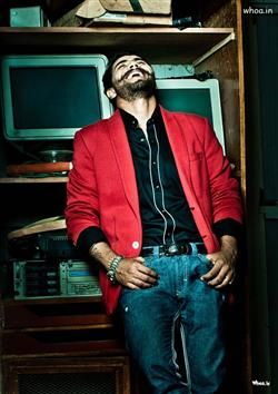 Ravindra Jadeja's Modelling Photoshoot With Red Coat And Laughing Face, Looking Cool, Ravindra Jadeja's Wallpaper And HD Images Collection