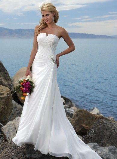 Notched Neckline Chiffon Sweep Train Ivory A-line Beach Wedding Dress