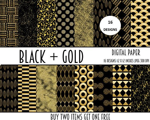 digital paper papers black gold commercial use collage