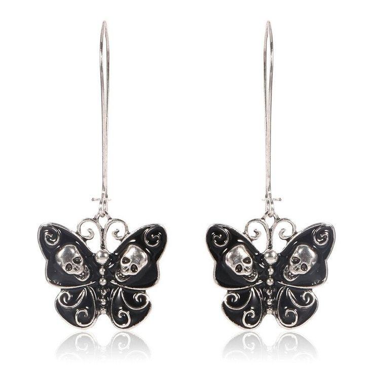 Butterfly Skull Earrings