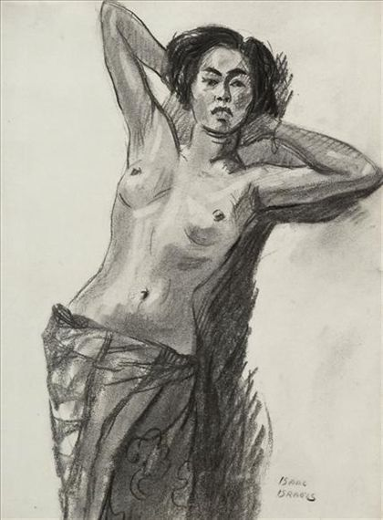 Artwork by Isaac Israëls, Standing female nude, Made of charcoal