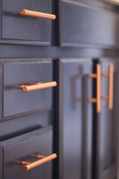 Gray Bathroom Navy Cabinets Copper Hardware Pulls