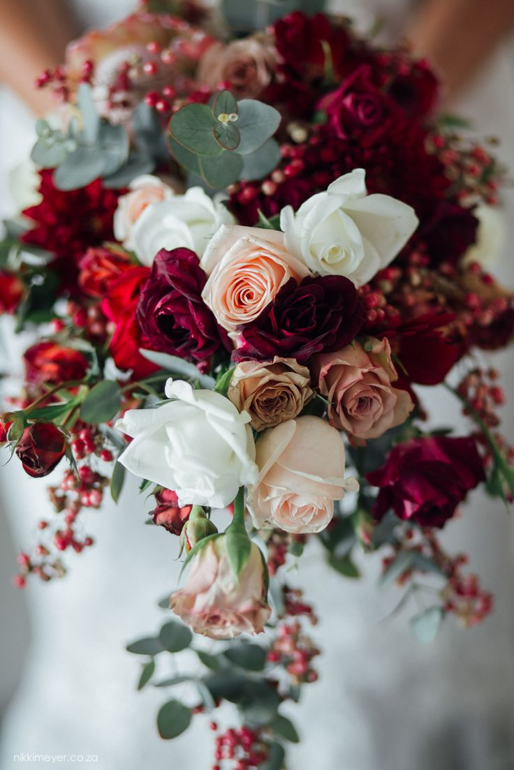 Burgundy/Berry Bridal Bouquet