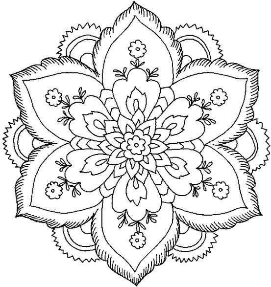 Flower Mandala coloring : this would be a spectacular as a single embroidered cushion, worked in a stem stitch with perle cotton, or with wool thread as a crewel work project. Description from pinterest.com. I searched for this on bing.com/images