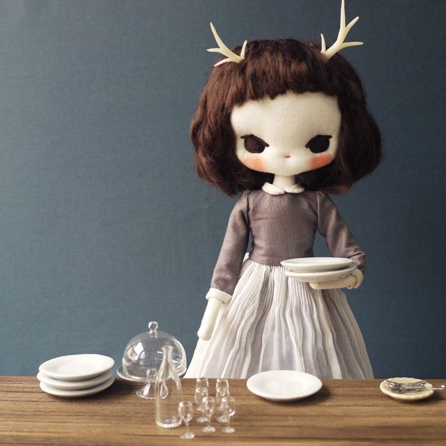 Miss Fallene from Evangelione.  I cannot get enough of her tiny tiny dolls and their fabulous settings.  A true artist.