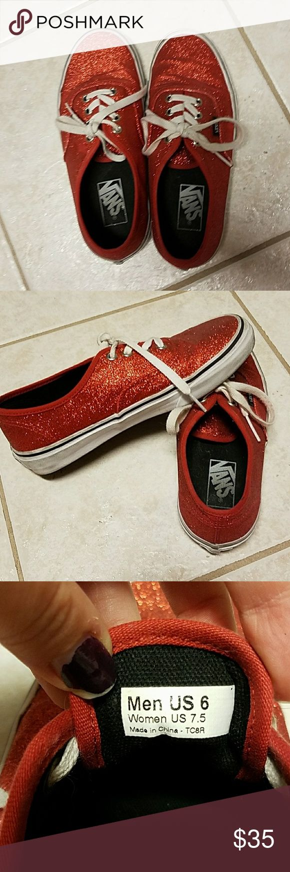 Red Shiny Vans ❤Reduced Price❤ Cute glittery Vans! Still have a lot of life left in them! Vans Shoes Sneakers