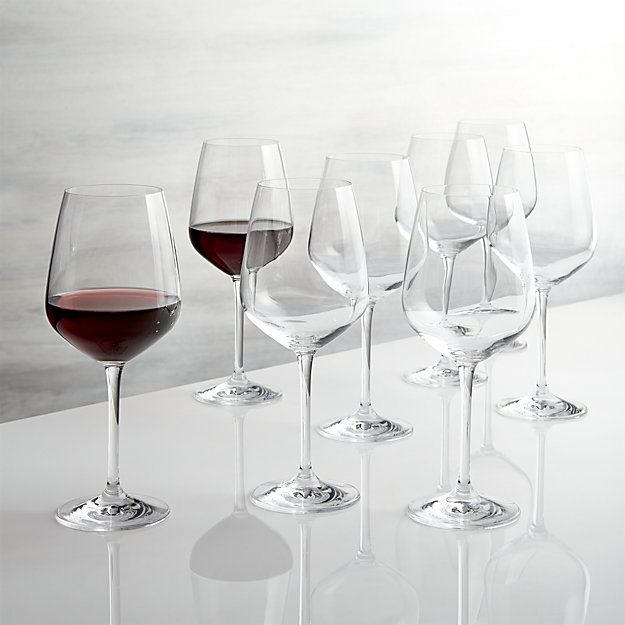 Nattie Red Wine Glasses, Set of 8 // works double duty as a white wine glass too. Great for large parties.