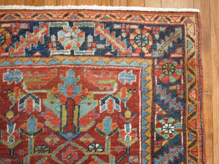 Elegant Antique Persian Heriz Scatter Rug