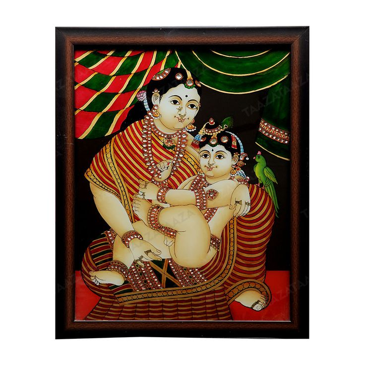 Yashodha Krishna | Glass Painting |  Material: Glass Other Material: Glass colors, Gold powder Dimensions( LxW): 17X21 Inches Package Contents: 1 Yshodha Krishna Painting