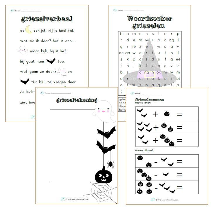 Werkbladen bij het thema griezelen voor groep 3 voor de Kinderboekenweek van 2017.