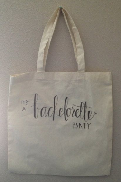 Bachelorette Wedding Tote Canvas Bag by nguyenpaperco on Etsy, $15.00