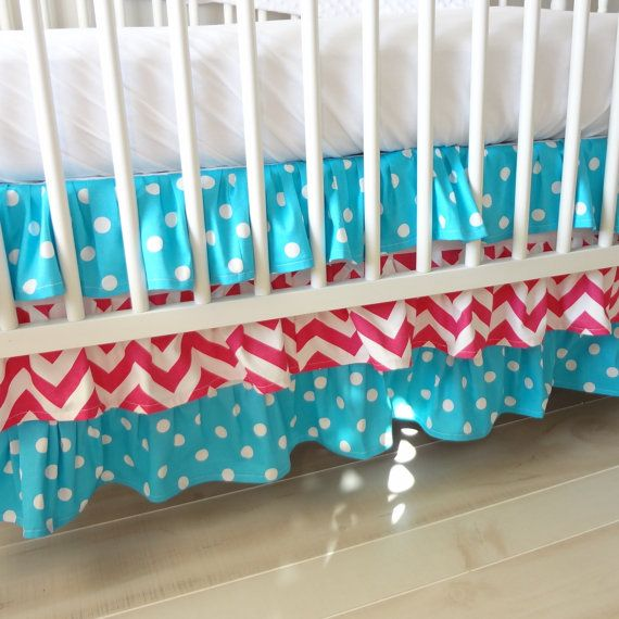 Ruffled Crib skirt.  3 Tiered Crib skirt design. Available in all fabric collections.. $170.00, via Etsy.