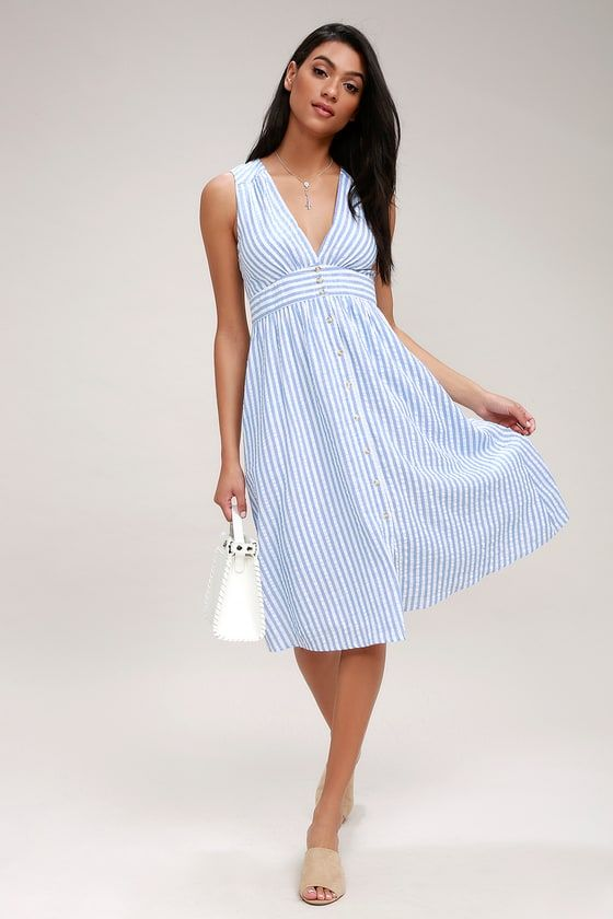 43284a98f9d6 Dance along the docks at sunset in the Nautical Lights Blue and White  Striped Button-Front Midi Dress! Striped woven cotton is light and breezy  across this ...