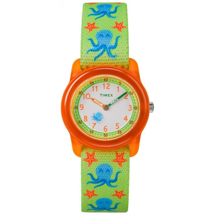Timex TW7C13400 time teacher children s watch has a round orange plastic case and a white colour full figure dial with orange numbers a green hour