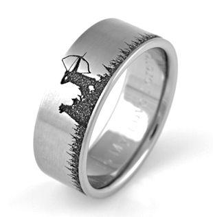 Deer Hunter Scene Ring, Hunting Scene Rings - Titanium-Buzz.com