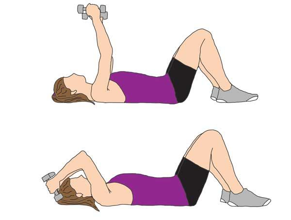 Lying | Tricep | Extention Lie flat on your back and position the dumbbells above your head with arms straight. While keeping your arms and elbows straight, simply lower the dumbbells until they're aligned with your ears and lift back up to starting position. Complete 2- 3 sets of 10 -12 reps, making sure you feel the burn.