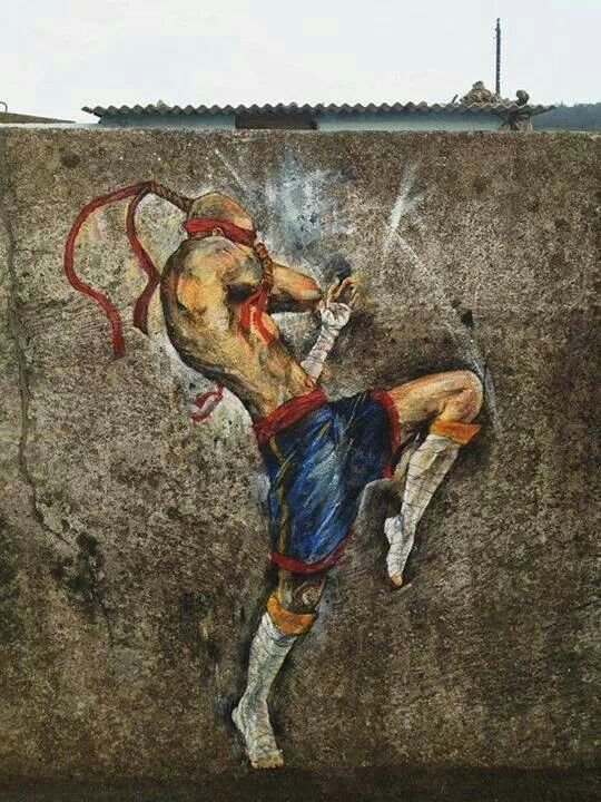 Muay Thai street art!