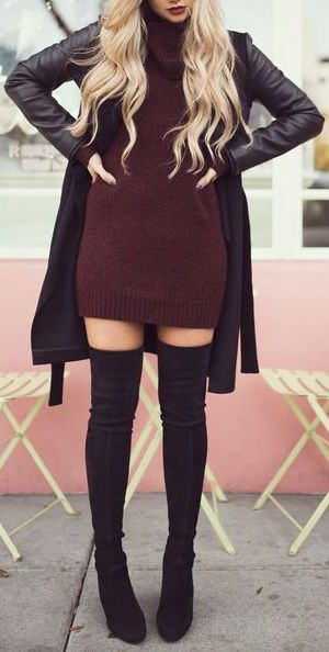 Just a pretty style | Latest fashion trends: Fall fashion | Burgundy turtle neck sweater dress with leather coat and over the knee boots