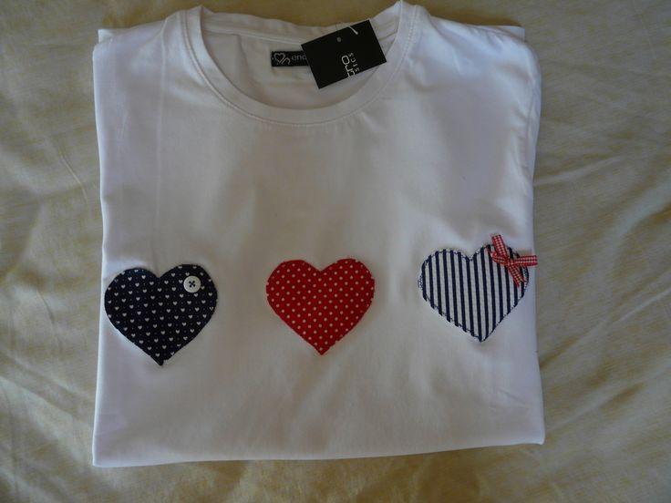 camiseta personalizada con tres corazones www.facebook.com/cottonlima