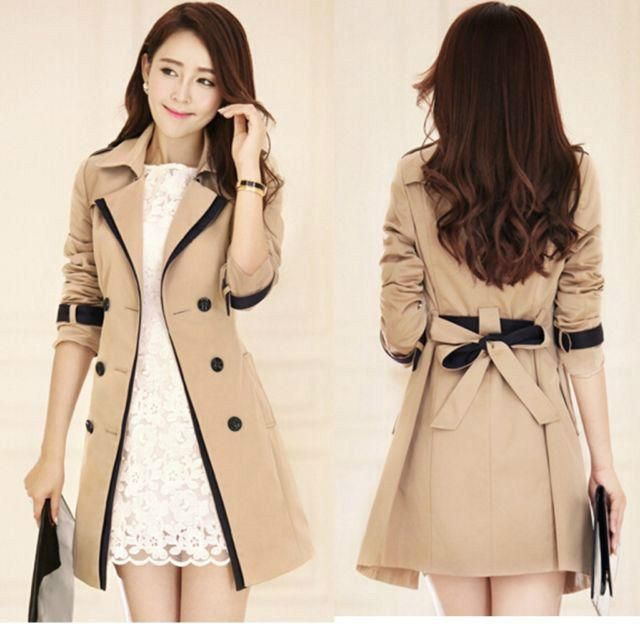 Korean Women's Trench Coats Overcoat Elegant Slim Fit Jacket Belt Parka