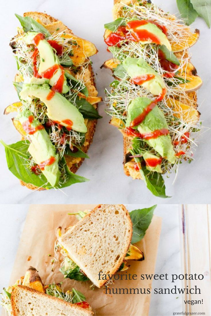 This sweet potato hummus sandwich is a convenient and transportable plant-based lunch that the entire family will love. Vegan & whole grain! via @gratefulgrazer