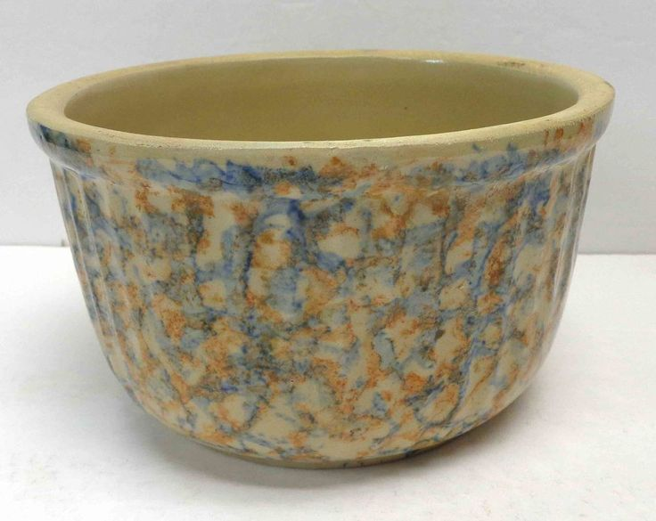 """Red Wing Stoneware Ribbed 7"""" Red & Blue Spongeware Bowl!"""