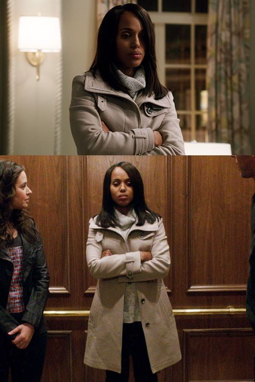 """Burberry Brit"" Rushworth Wool Coat with ""Vince"" Boat Layout Sweater worn by Olivia Pope (Kerry Washington) on Scandal Season 4."