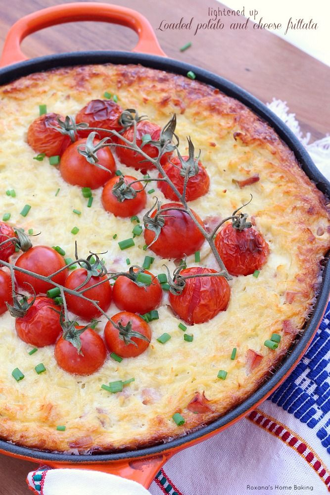 All my favorite baked potato fixings in this quick and easy baked potato and cheese frittata, now with half the calories as regular frittata