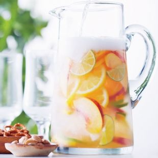 Cava Sangria recipe via Canadian Living - a delicious blend of fruit, brandy and sparkling Spanish wine!