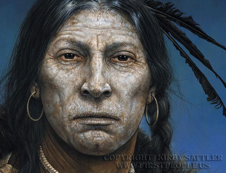A Native American Poster entitled 'Blue Fire' (in detail) by Kirby Sattler. kK