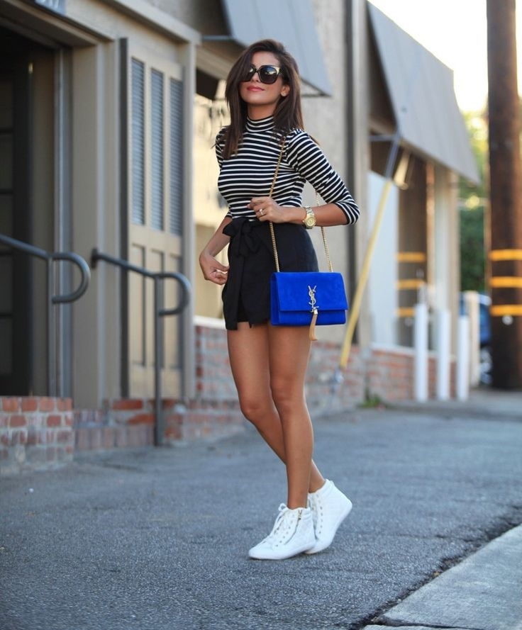 vintage style, designer bag, blue suede, tassels, gold chain, luxury, vintage style, boho, Stripes, YSL, YSL Bag, short shorts, tie belt, street style, fall fashion, la, top blogger, sazan, beauty, short hair styles, makeup, sneakers, topshop, zippers, sneakers, high tops, white high tops,