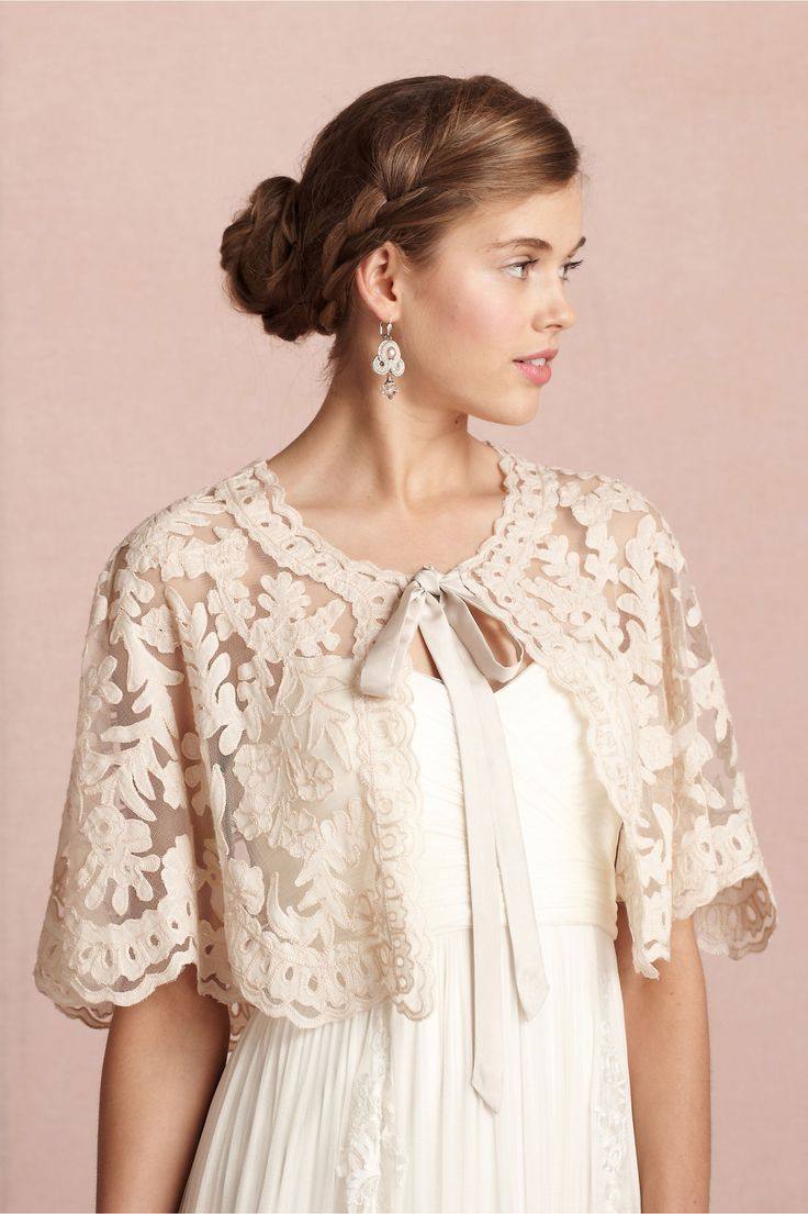 This Boulevardier Capelet made of tulle with cotton appliques and silk ribbon, so dainty and feminine. | at BHLDN