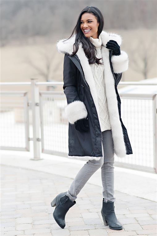 ad5554b39 Black Hooded Faux Fur-Lined Knee-Length Coat | Womens Faux Fur Coats - Donna  Salyers Fabulous-Furs