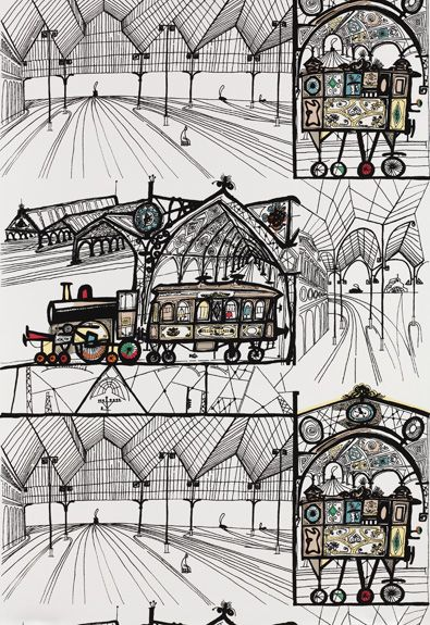 Vintage Schumacher Wallpaper by Saul Steinberg | The English Room