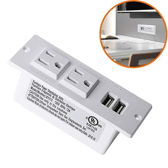 Desktop Power Strip With Usb For Furniture Desk Recessed Power Grommet Socket 2 Ac Outlets 2 Usb Ports 6 5 Power Outlets Socket Diy Desktop Power Strip