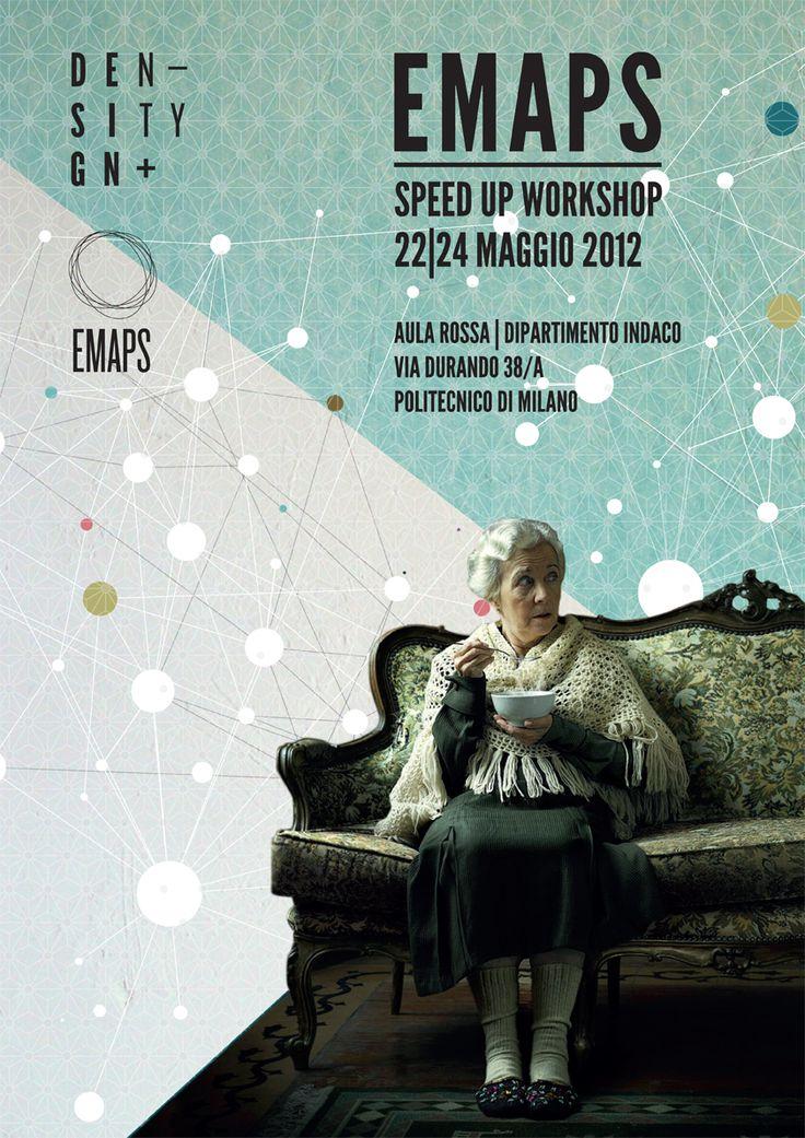 Flyer Speed Up Workshop in Milan.  Erg mooi kleurenpalet. Het witte vlak geeft een mooi contrast aan de dame op de donkere bank. Het patroon van het sterrenstelsel geeft, samen met de typografie, de flyer dynamiek.