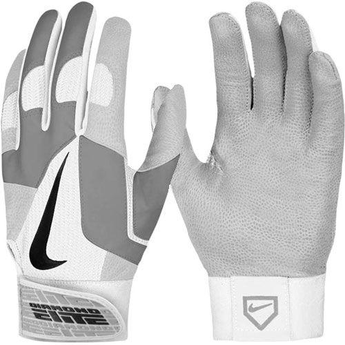 Nike Men's Diamond Elite Pro II Batting Glove - White/Grey