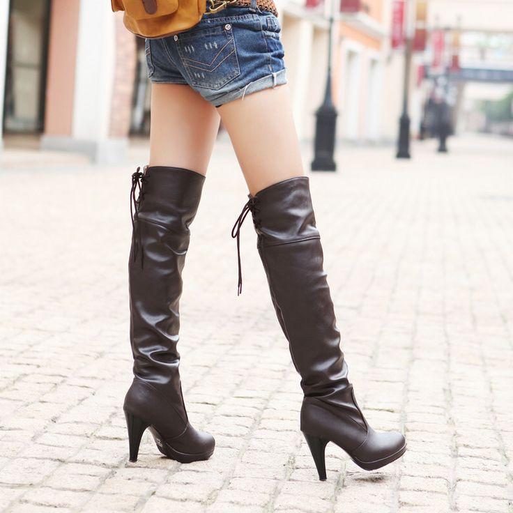 Pas cher Livraison gratuite 2013 à talons hauts hiver bottes plate forme haute jambe arrière sangle