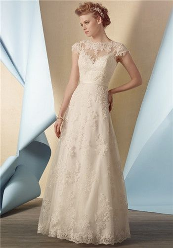 Alfred Angelo  2430/2430T  $874 - $999  Re-embroidered lace natural waist gown with a sheer lace cap sleeve and yoke, sweetheart neckline, key hole back, satin belted waist, and flared a-line floor length skirt. Also Available Tea Length as style 2430T  Silhouette: A-Line Neckline: Sweetheart Waist: Natural Sleeve Style: Cap Fabric: Lace, Satin Color: Ivory, White Size: 0 - 18 Price: $$