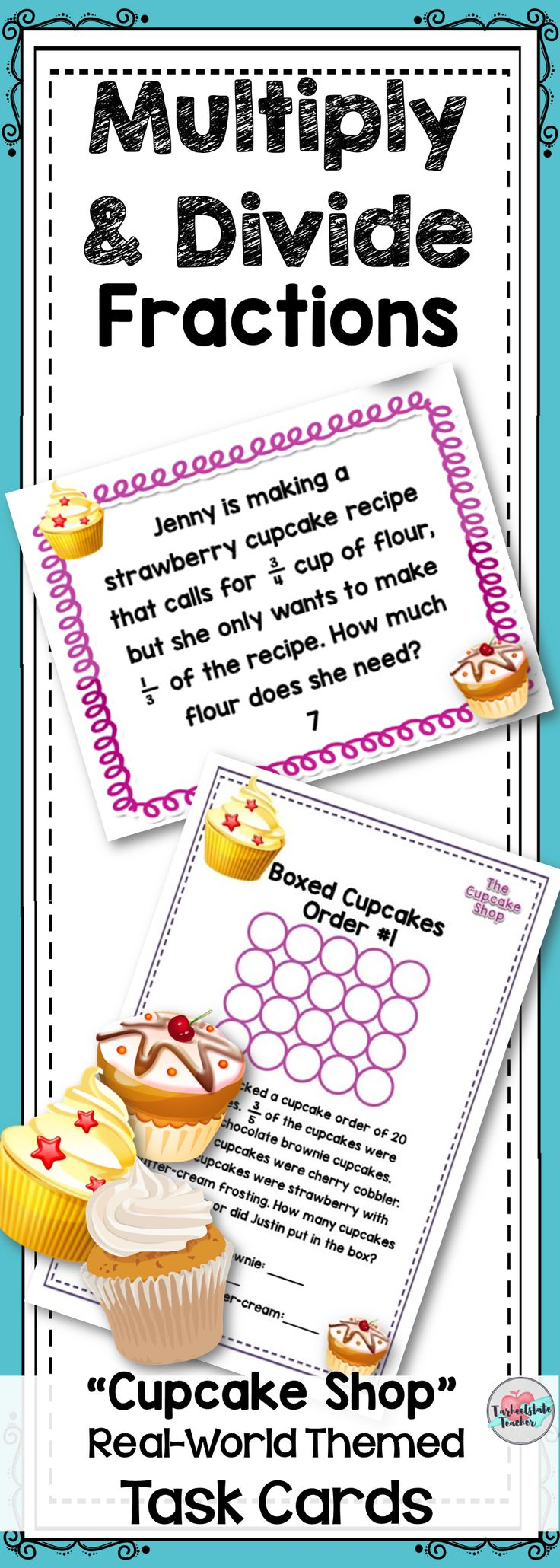 "Get your 4th or 5th grade students engaged and wanting gourmet cupcakes with these real world themed ""Cupcake Shop"" task cards for multiplying fractions (by fractions and by whole numbers) task cards. Your students will multiply and divide fractions to solve word problems. 4 problems where students create a visual representation to model multiplication of fractions are included. Print as worksheets or use as task cards. Put these in a station or center for extra practice! Extension…"