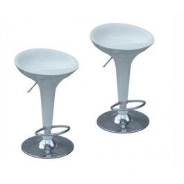 Set of TWO Modern Retro Solid ABS and Gas Lift Bar Stools