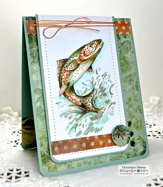 Handmade masculine card by ChristineCreations: Rainbow Trout