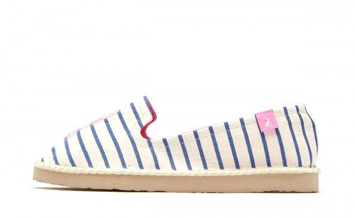 Joules NEW Flipadrille white blue lobster stripe canvas espadrilles flat shoes