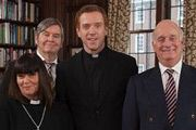 The Vicar Of Dibley. Image shows from L to R: Geraldine Grainger (Dawn French), Hugo Horton (James Fleet), Vicar (Damian Lewis), David Horton (Gary Waldhorn). Copyright: Tiger Aspect Productions.