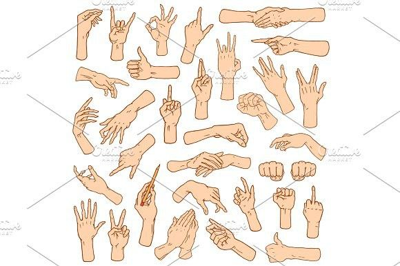 Gestures arms stop, palm, thumbs up, finger pointer, ok, like and pray or handshake, fist and peace or rock n roll. engraved hand drawn in old sketch …