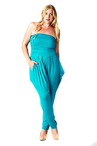 19bbec221887 Fourever Funky Womens Plus Size Solid Strapless Rayon Jumpsuit Romper Made  In USA