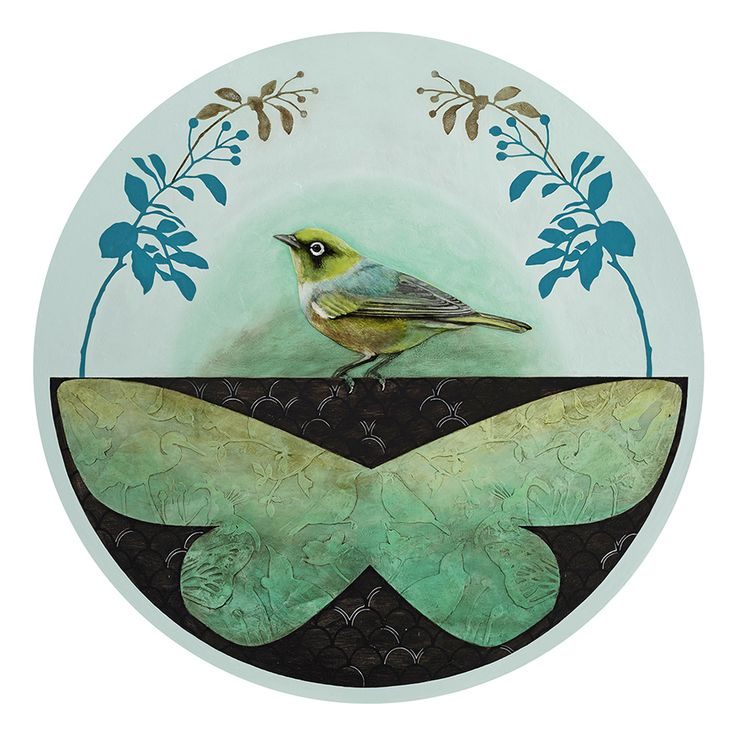 'Found' depicts an adorable Silvereye (Tauhou) perched above a butterfly. Artist Kathryn Furniss lives in Nelson, New Zealand. www.imagevault.co.nz