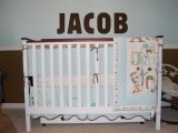 brown and blue baby room