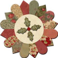 Christmas block: combo pattern of dresden plante and grandmothers Fan. I have most of these fabrics.